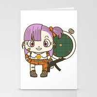 dragonball Stationery Cards featuring Bulma and the dragonball radar by Samtronika