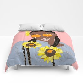 Believe in Yo Juice - Digital Black Goddess Vector Drawing Comforters