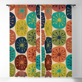 Atomic Dots Pattern in Mid Mod Teal, Orange, Olive, Blue, Mustard, and Beige Blackout Curtain