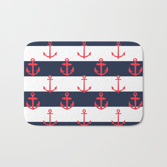Red White and Blue Anchor Pattern Bath Mat