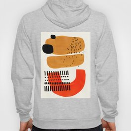 Mid Century Modern Abstract Minimalist Retro Vintage Style Fun Playful Ochre Yellow Ochre Orange Sha Hoodie