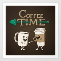 coffee Art Prints featuring Coffee Time! by powerpig