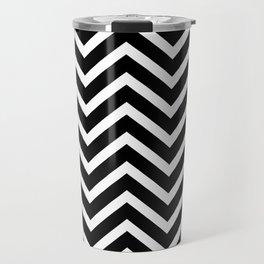 Black & White Chevron Stripes Travel Mug