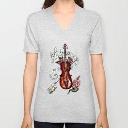 Brown Violin with Notes Unisex V-Neck