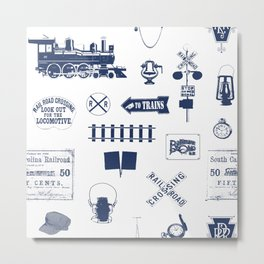 Railroad Symbols // Navy Blue Metal Print