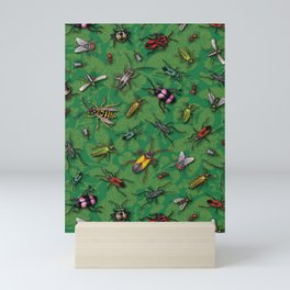 Bugs & Insects on Green Floral Background Mini Art Print