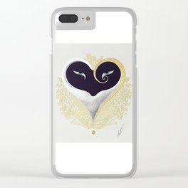 """""""Black & Gold Filigree Heart"""" Design by Erté Clear iPhone Case"""