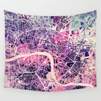 london map Wall Tapestries featuring London Mosaic Map #2 by Map Map Maps