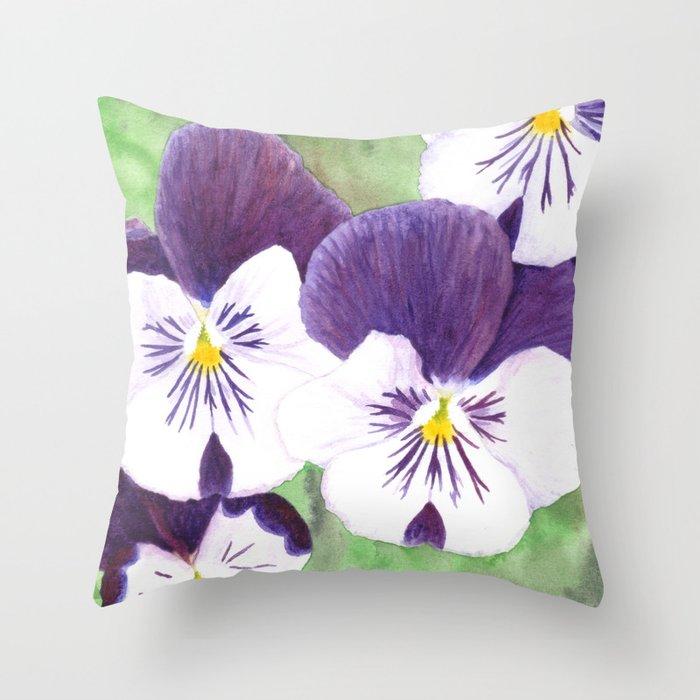 Pansies flowers Throw Pillow