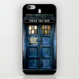 Beautiful tardis with yellow stained glass windows iPhone Skin