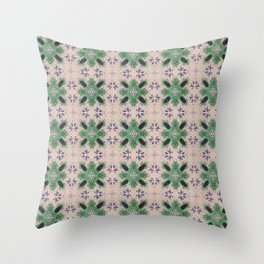 Vintage tiles faded rose and green Throw Pillow