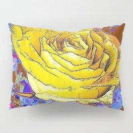 GRAPHIC YELLOW ROSE BLUE FLOWERS BROWN ART Pillow Sham