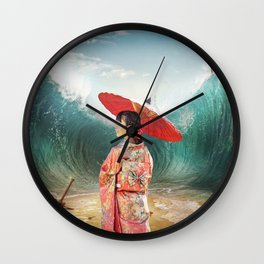Geisha sea mattepainting Wall Clock