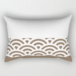 Rainbow Trim Brown Leather - Coffee Rectangular Pillow