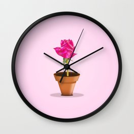 Little Pink Rose Wall Clock