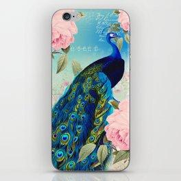 Peacock & Pink Roses  iPhone Skin