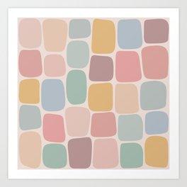 Minimal Blocks - Pastel Rainbow Art Print