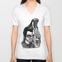 grease V-neck T-shirts featuring Dave's Grease Ghost by PRESTOONS / Art by Dennis Preston