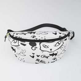 meow meow meow black Fanny Pack