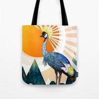crane Tote Bags featuring Crowned Crane by Sandra Dieckmann
