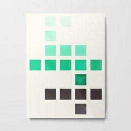 Colorful Teal Turquoise Green Mid Century Modern Minimalist Square Geometric Pattern Metal Print