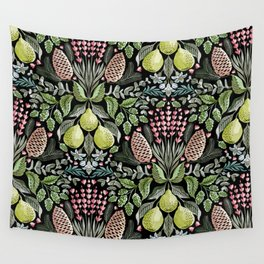 Fragrant Florets - Dark Wall Tapestry