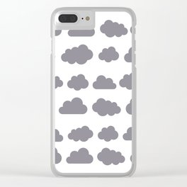 Grey clouds winter time art Clear iPhone Case