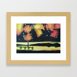 Painting: Under the sunset- colored galaxy Framed Art Print
