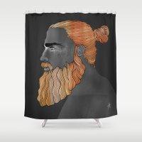 austin Shower Curtains featuring Beard Austin by Antony Makhlouf