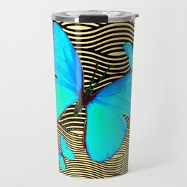 Blue Butterflies On black-yellow Grey Patterns Travel Mug