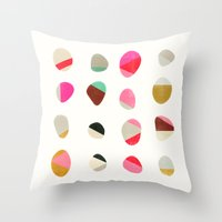 jazzberry Throw Pillows featuring painted pebbles 1 by Garima Dhawan