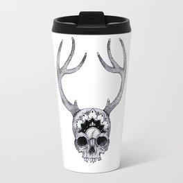 Mandala Skull With Gorgeous Antlers Travel Mug