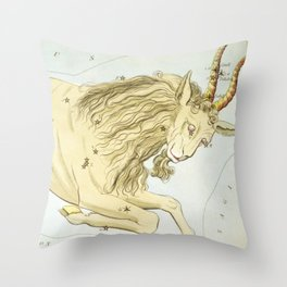 Vintage Capricorn Constellation Map (1825) Throw Pillow