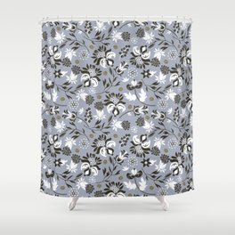 Victorian floral   slate gray Shower Curtain