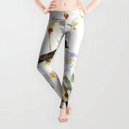 Sparrows and Spring Blossom Leggings
