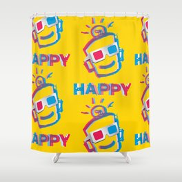 3D HAPPY Shower Curtain