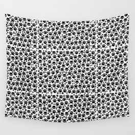 Dog Paws, Traces, Paw-prints - White Black Wall Tapestry