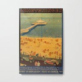 Scheveningen Vintage Travel Poster Metal Print