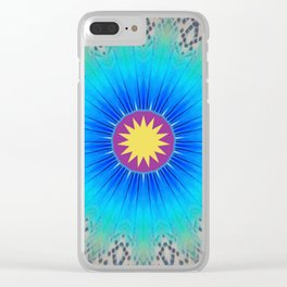 Textured Electric Blues Mandala with Yellow Accent Clear iPhone Case