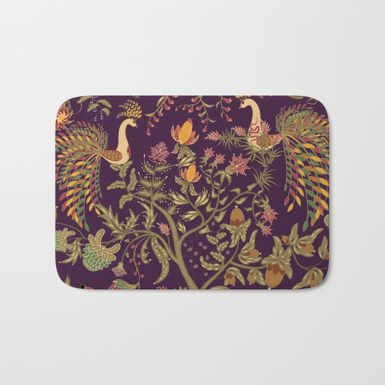 Birds of Paradise. Colorful illustration. Bath Mat