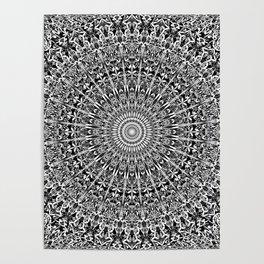 Grey Geometric Floral Mandala Poster
