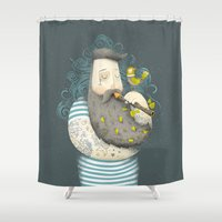 wesley bird Shower Curtains featuring Bird by Seaside Spirit