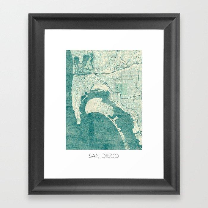 Vintage San Diego Map.San Diego Map Blue Vintage Framed Art Print By Hubertroguski Society6