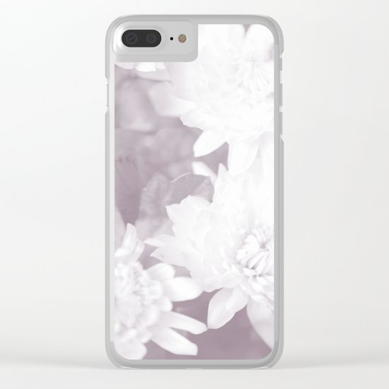 Elegant beauty - white flowers on purple background Clear iPhone Case