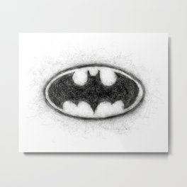 Bat Symbol Black & White Metal Print