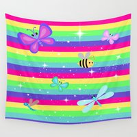 stripes Wall Tapestries featuring Rainbow Butterflies & Stripes by Whimsy Romance & Fun