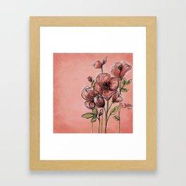 Poppies on rose Framed Art Print