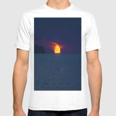 Moonlight on the Ocean White MEDIUM Mens Fitted Tee