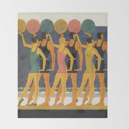 Art Deco Swimwear and Beach Balls Vintage Poster Throw Blanket
