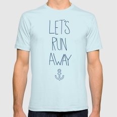 Let's Run Away: Sandy Beach, Hawaii Light Blue X-LARGE Mens Fitted Tee